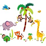 Giant Nursery/kids Room Wall Sticker Decals - Tumble in the Jungle Monkeys Stickers