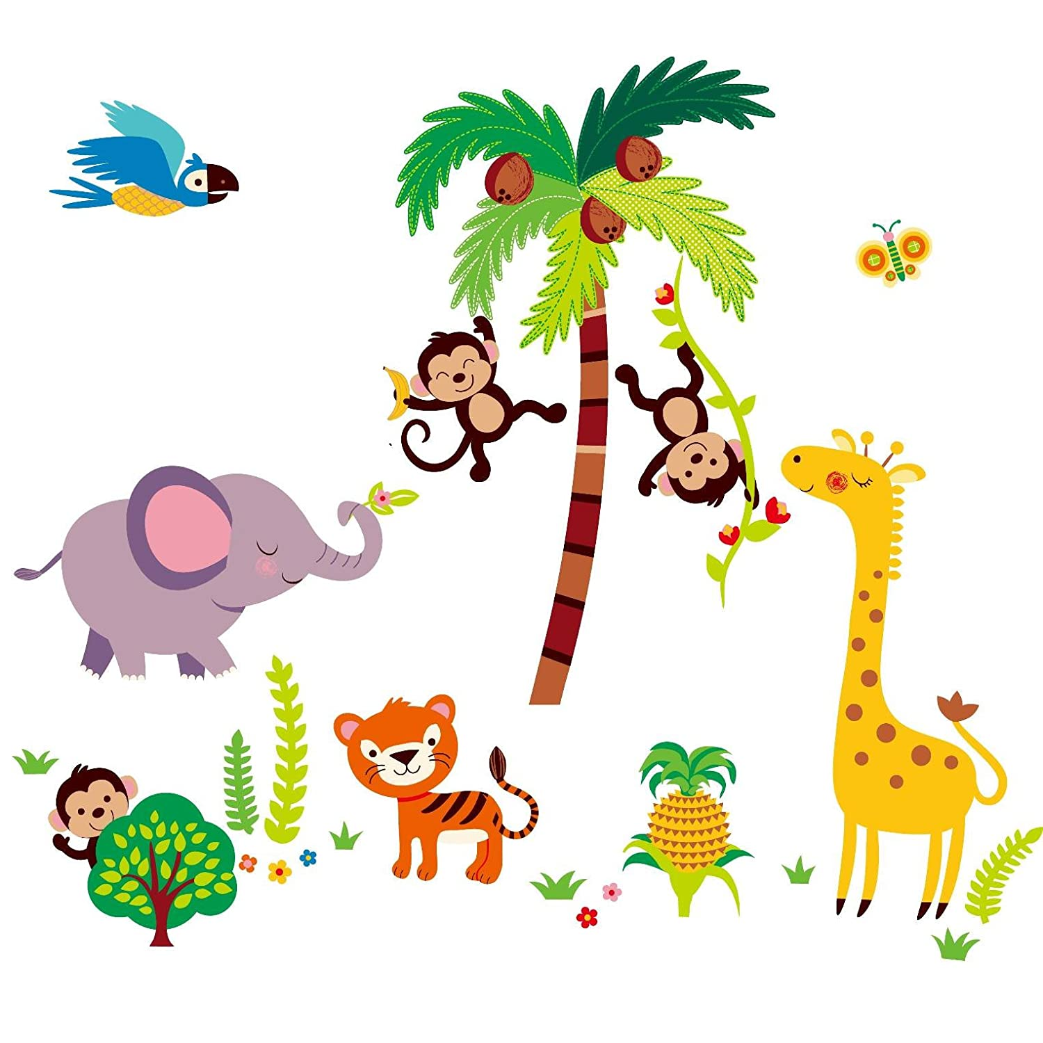 giant nursery kids room wall sticker decals tumble in the jungle giant nursery kids room wall sticker decals tumble in the jungle monkeys stickers amazon com