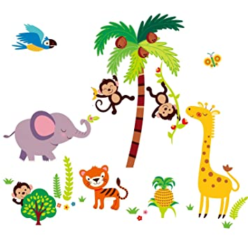 Giant Nurserykids Room Wall Sticker Decals Tumble In The Jungle - Wall decals jungle