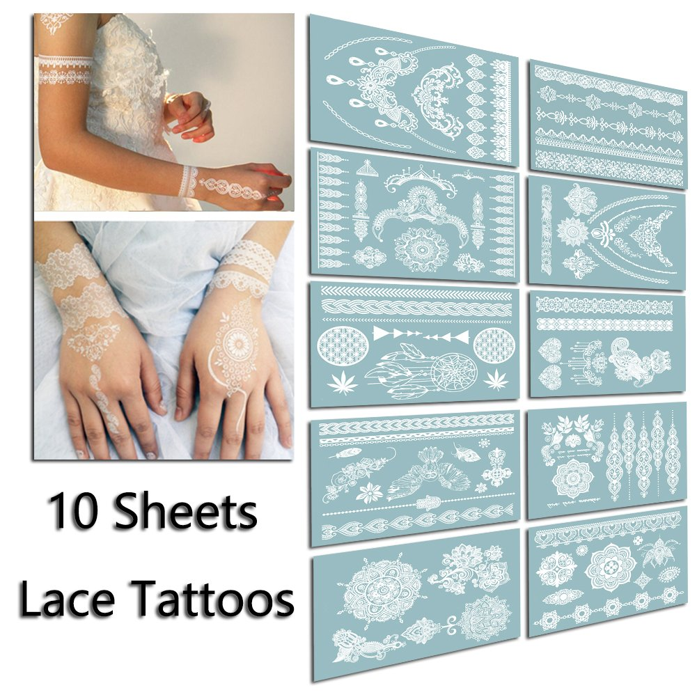 TAFLY Lace White Tattoo Waterproof Body Henna Transfer Tattoos Stickers for Women & Girls -150 Designs Bracelets, Necklaces, Tribe, Totem, Wing etc 1-10
