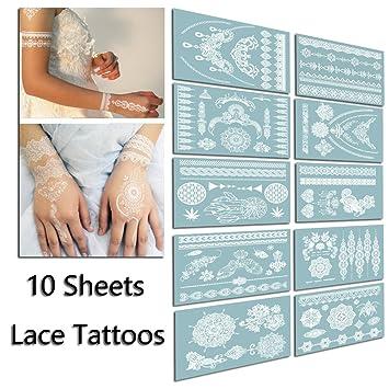 Tafly Tatouage Temporaire Lace Mariage Blanc Tatouages Autocollants