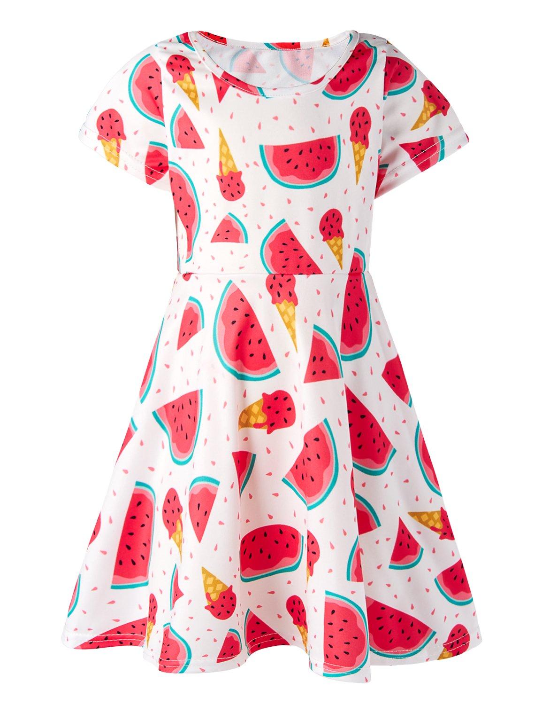 Girls Summer Short Sleeve Dress Watermelon Ice Cream Printed Casual Dress for Kids 8-9 Years