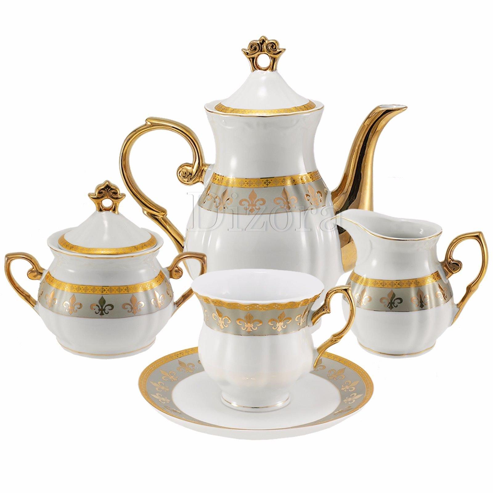 Euro Porcelain 17-Pc. Fleur-de-Lis Tea Cup Coffee Set, Premium Bone China, 24K Gold-Plated, Complete Service for 6, Original Czech Tableware