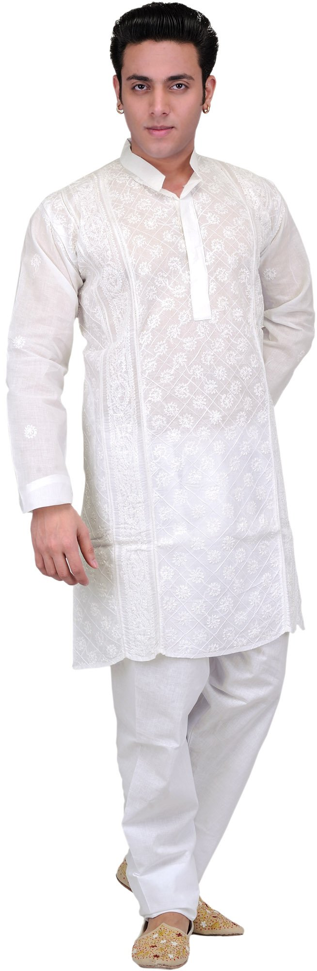 Exotic India Star-White Kurta Pajama Lukhnavi Chik Size 44