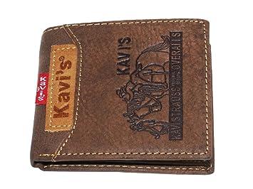 KAVIŽS Cartera Hombre/Billetera de Cuero Cartera con cremallera para Billetes Seguridad / Cartera pequeña de Viaje Estuche protege tarjetas de crédito ...