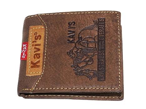 KAVI´S Cartera Hombre/Billetera de Cuero Cartera con cremallera para Billetes Seguridad /