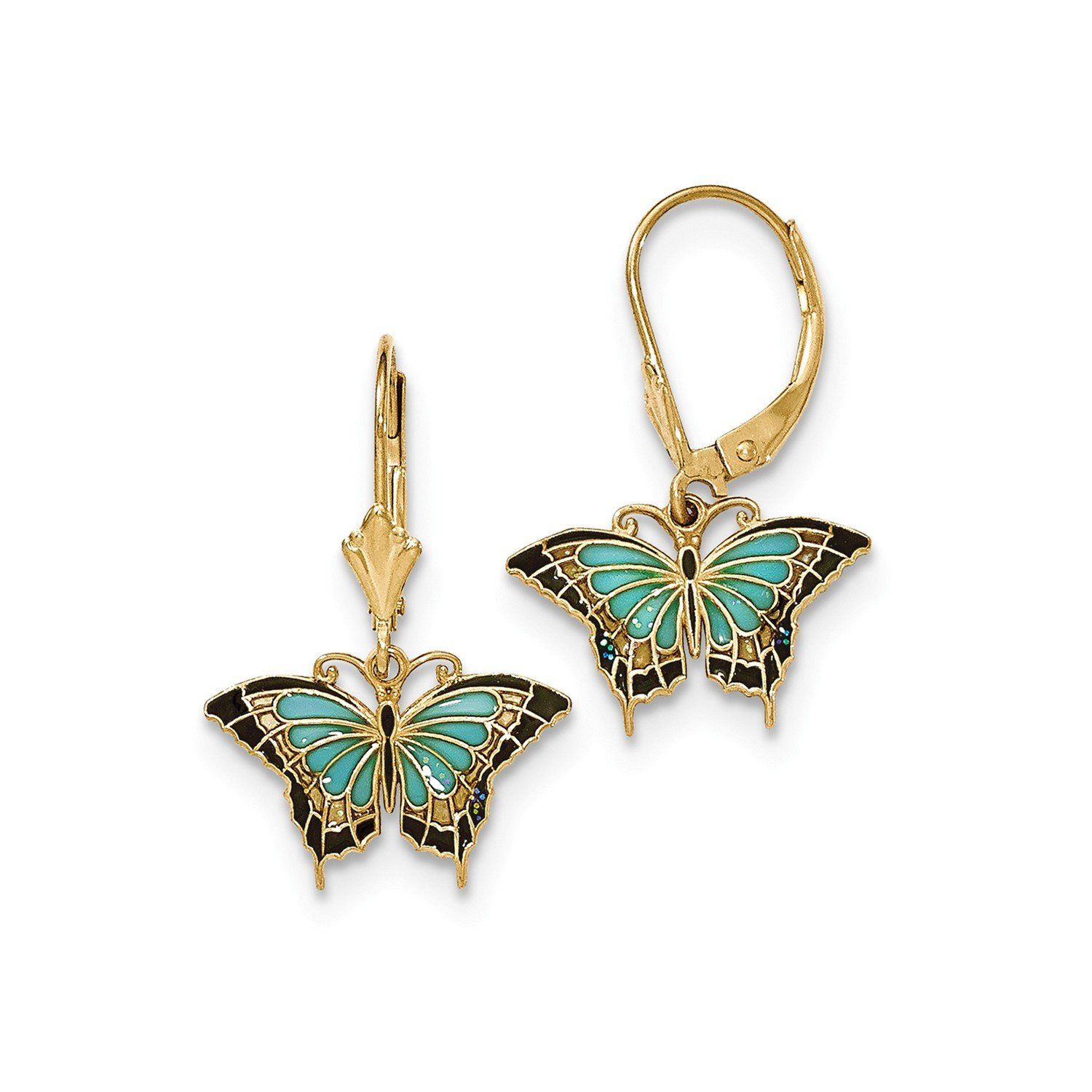 Roy Rose Jewelry 14K Yellow Gold Butterfly w/Aqua Stained Glass Acrylic Wings Hook Earrings by Roy Rose Jewelry