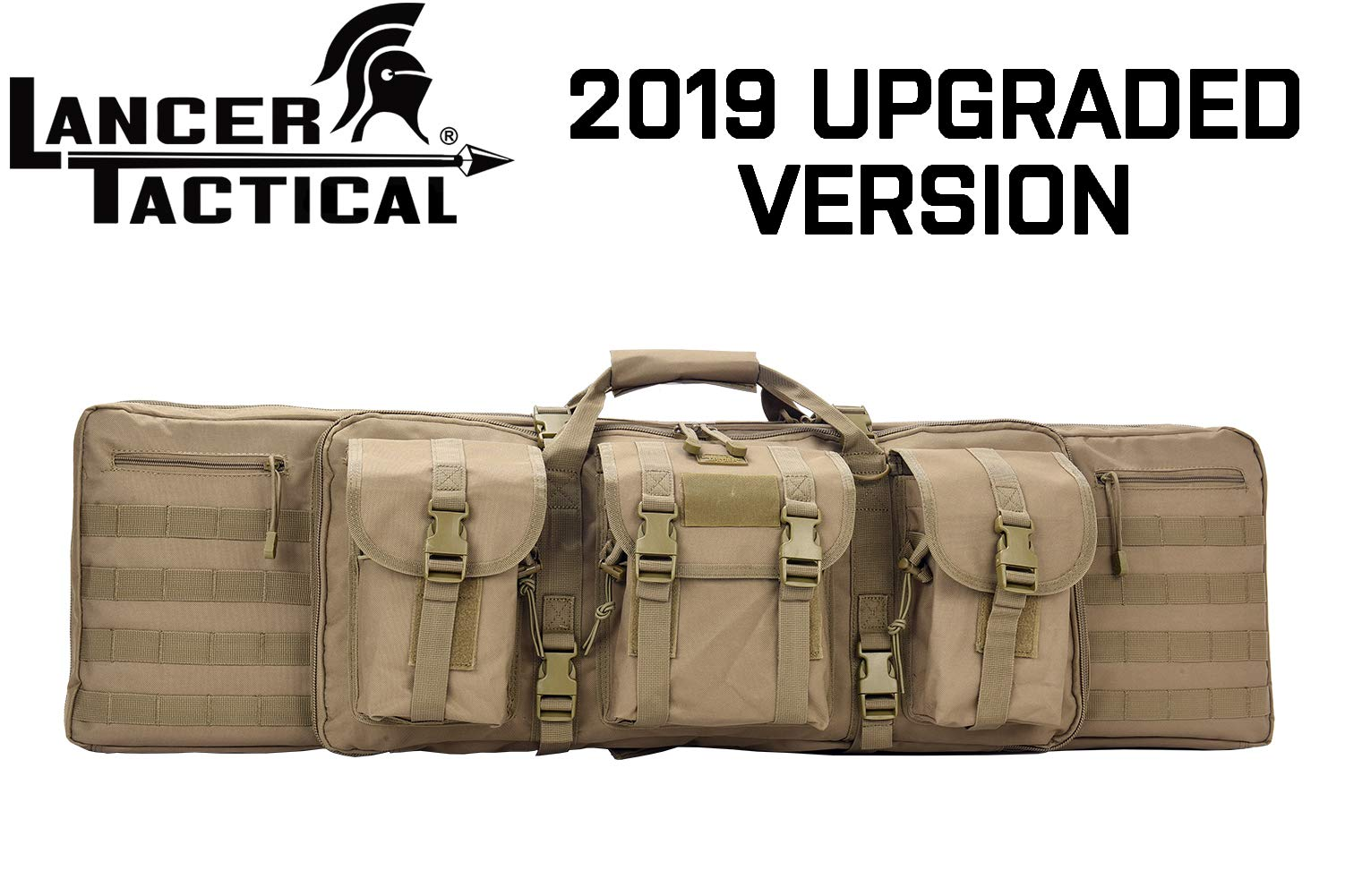 Lancer Tactical Rifle Case 600D Polyester Double Long Rifle Bag Tactical Gun Case Accessory Pouches Secondary Gun Compartment Lockable Compartment Inner Storage Backpack Straps for Hunting Shooting by Lancer Tactical