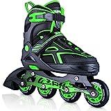 2PM SPORTS Torinx Orange/Red/Green Black Boys Adjustable Inline Skates, Fun Roller Blades for Kids, Beginner Roller Skates fo
