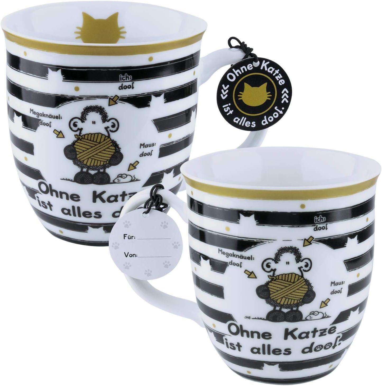 Porzellan mit Geschenk-Anh/änger Die Geschenkewelt Sheepworld 45990 Tasse Ohne Katze ist Alles Doof