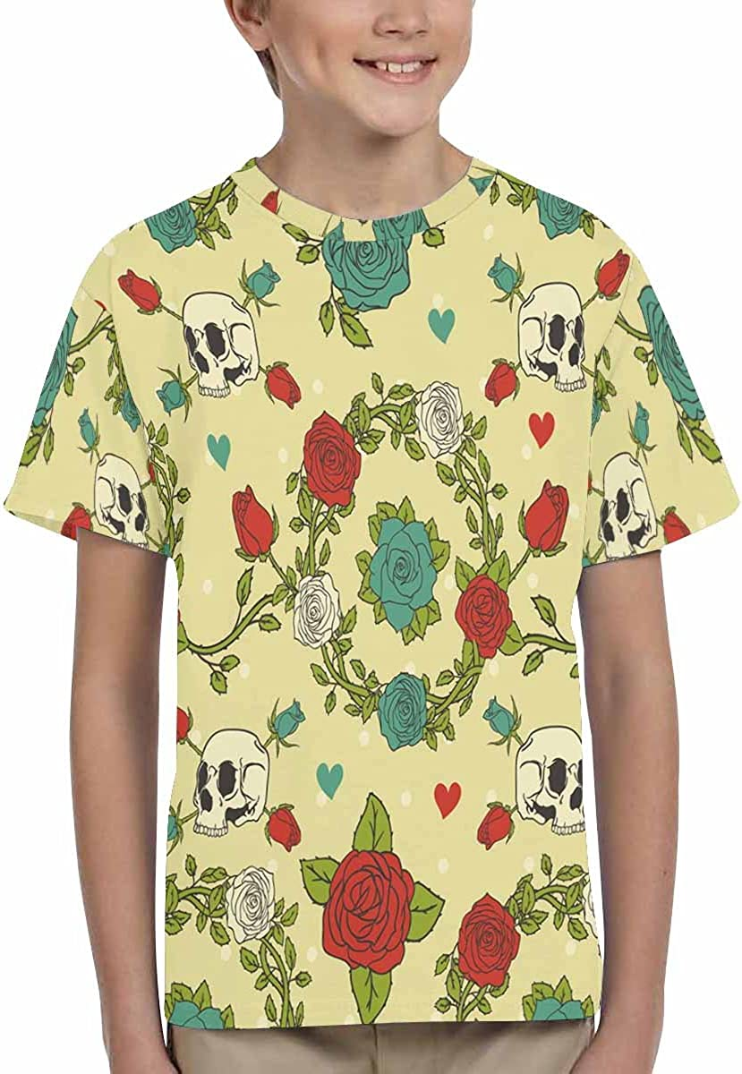XS-XL INTERESTPRINT Youth T-Shirts Ornament in a Style with Skulls and Roses