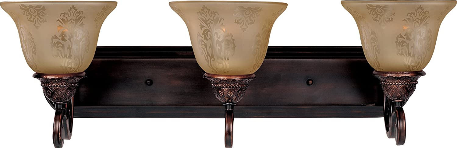 Maxim Lighting 11232SVOI Symphony 3-Light Bath Vanity, Oil Rubbed BronzeFinish,ScreenAmberGlass,MBIncandescentIncandescentBulb,60WMax.,DrySafetyRating,StandardDimmable,MetalShadeMaterial,RatedLumens