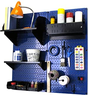 product image for Wall Control Pegboard Hobby Craft Pegboard Organizer Storage Kit with Blue Pegboard and Black Accessories