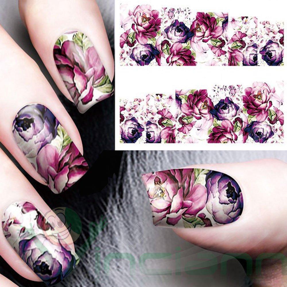 5 pegatinas adhesivas flores moradas para Nail Art, el arte de ...