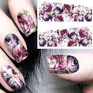 5 pegatinas adhesivas flores moradas para Nail Art, el arte de decorar la uñas. Transferencia agua: Amazon.es: Electrónica