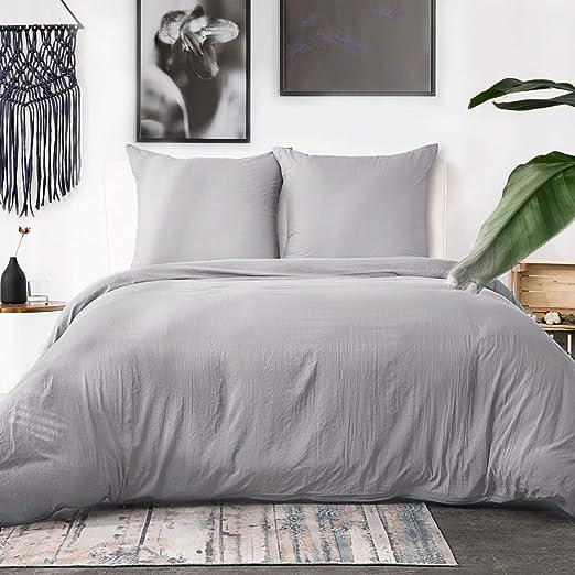 Bedsure Housse de Couette 220x240 cm Gris