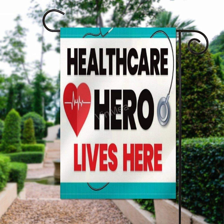 "VinMea Home Garden Flag Healthcare Hero Lives Here Decorative Flag Double Sided Polyester Outdoor Decor Flag 12"" X 18"""