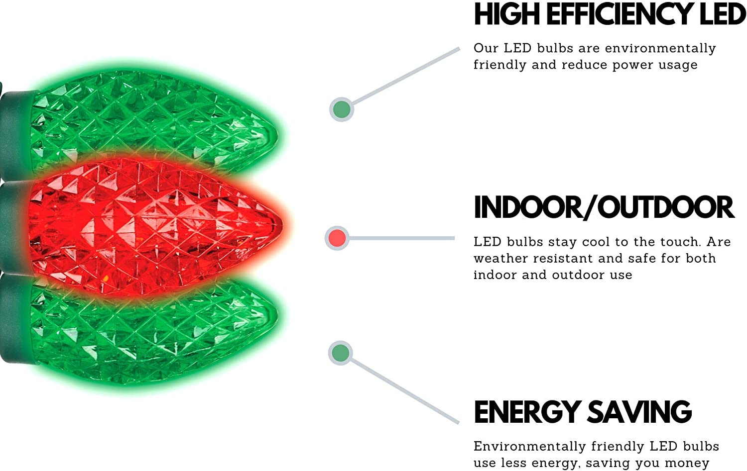 Amazon.com: NOMA LED C9 Luces de Navidad | Interior/Exterior ...