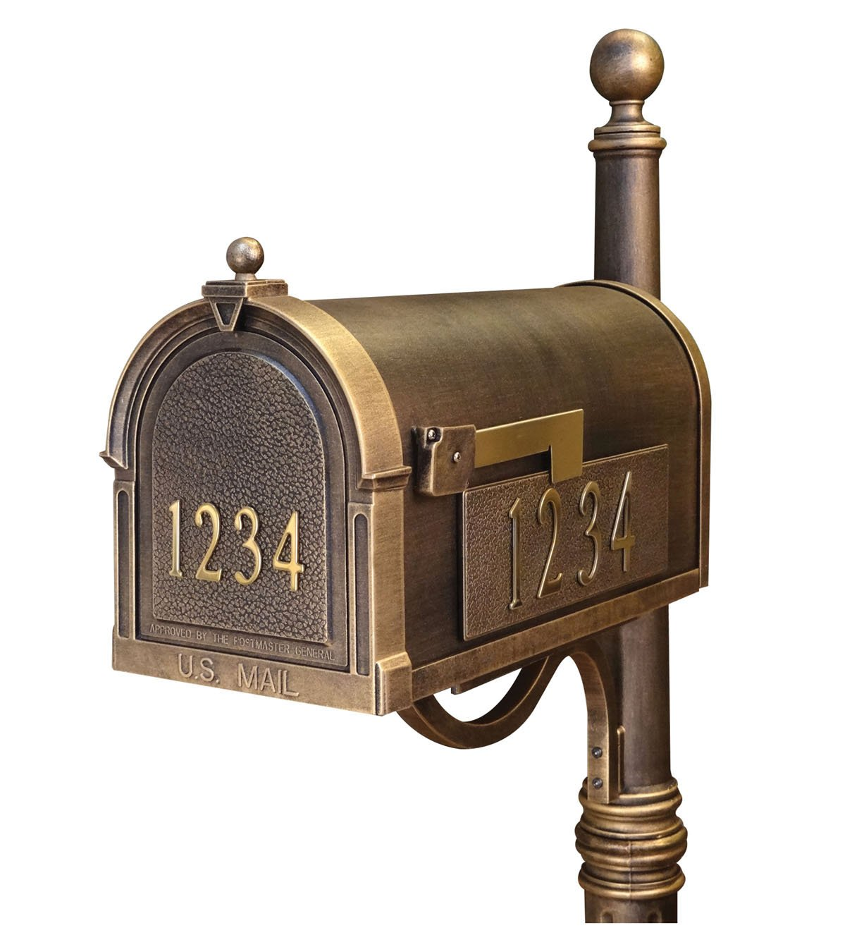 Special Lite Berkshire Curbside Mailbox with Front and Side Numbers - Hand Rubbed Bronze