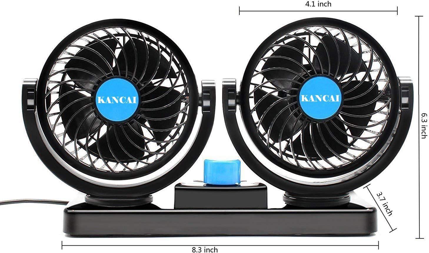 KanCai Ventilatore 12 Volt Doppia Testa Ventola di Raffreddamento avec Accendisigari Auto Due velocit/à regolabile e rotazione manuale a 360 gradi