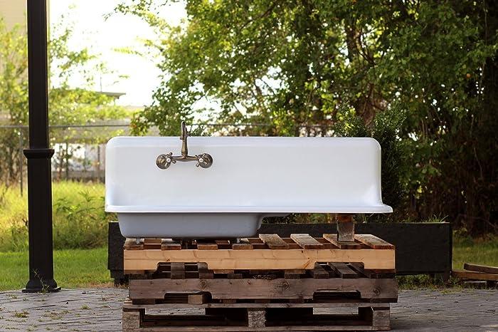 1925 Am Standard Refinished 52u0026quot; High Back Farm Sink Drainboard Cast  Iron Vintage Kitchen Sink