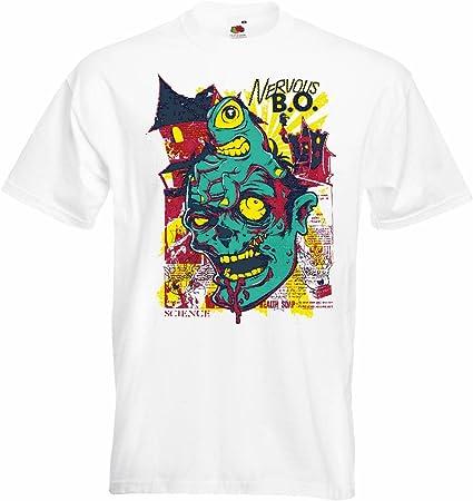 T-Shirt Camiseta Remera Zombi Estrella Walking NERVIOSO Pega Motorista Camiseta Zombi Que Camina Club de la Motocicleta Muerto Gothic Interruptor Dixon Camisa de la Banda en Blanco: Amazon.es: Ropa y accesorios