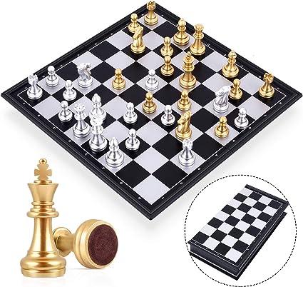 Peradix ajedrez magnetico Plegable,Juegos de Mesa Tablero de Ajedrez con Caja Set Ajedrez Ajedrez de Oro y Plata Juego De Tablero Juguetes Regalo para niños y Adultos (25cm*25cm): Amazon.es: Juguetes y juegos