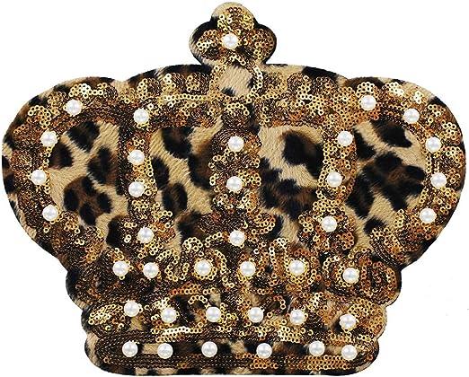EMDOMO Parches de Lentejuelas para Corona, diseño de Leopardo ...
