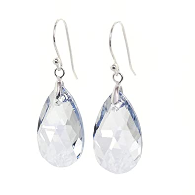 2f52663d7 pewterhooter 925 Sterling Silver drop earrings expertly made with Clear  with a hint of Blue teardrop crystal from SWAROVSKI®. London Gift Box.