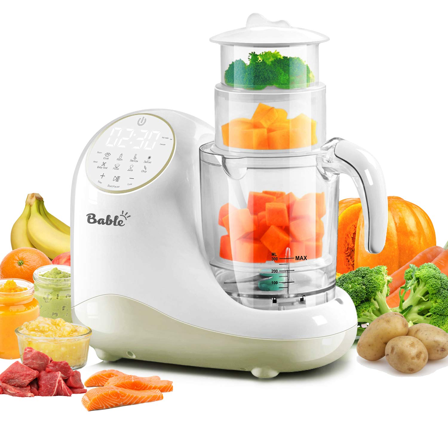 Bable Baby Food Maker for Infants and Toddlers, All in 1 Food Processor Mills Machine with Steam, Blend, Chop, Disinfect, Reheater, Grinder and Auto Cleaning, Touch Control Panel