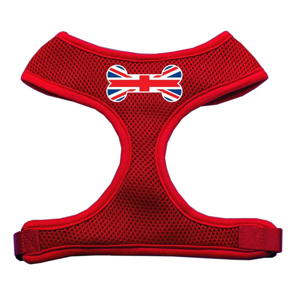 Mirage Pet Products Bone Flag UK Screen Print Soft Mesh Dog Harnesses, Medium, Red