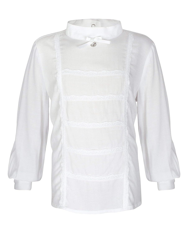 GULLIVER Bluse M/ädchen Kinder Bluse Weiss festlich mit Kragen Unifarben 3 6 Jahre 98-116 cm