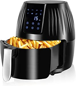 MZ Mzeat Air Fryer Large Capacity Power Air Fryer Oven with LCD Digital Touch Control Panel and Temperature Control, Air Fryer Toaster Oven with Frying Basket, Recipe Menu (Black)