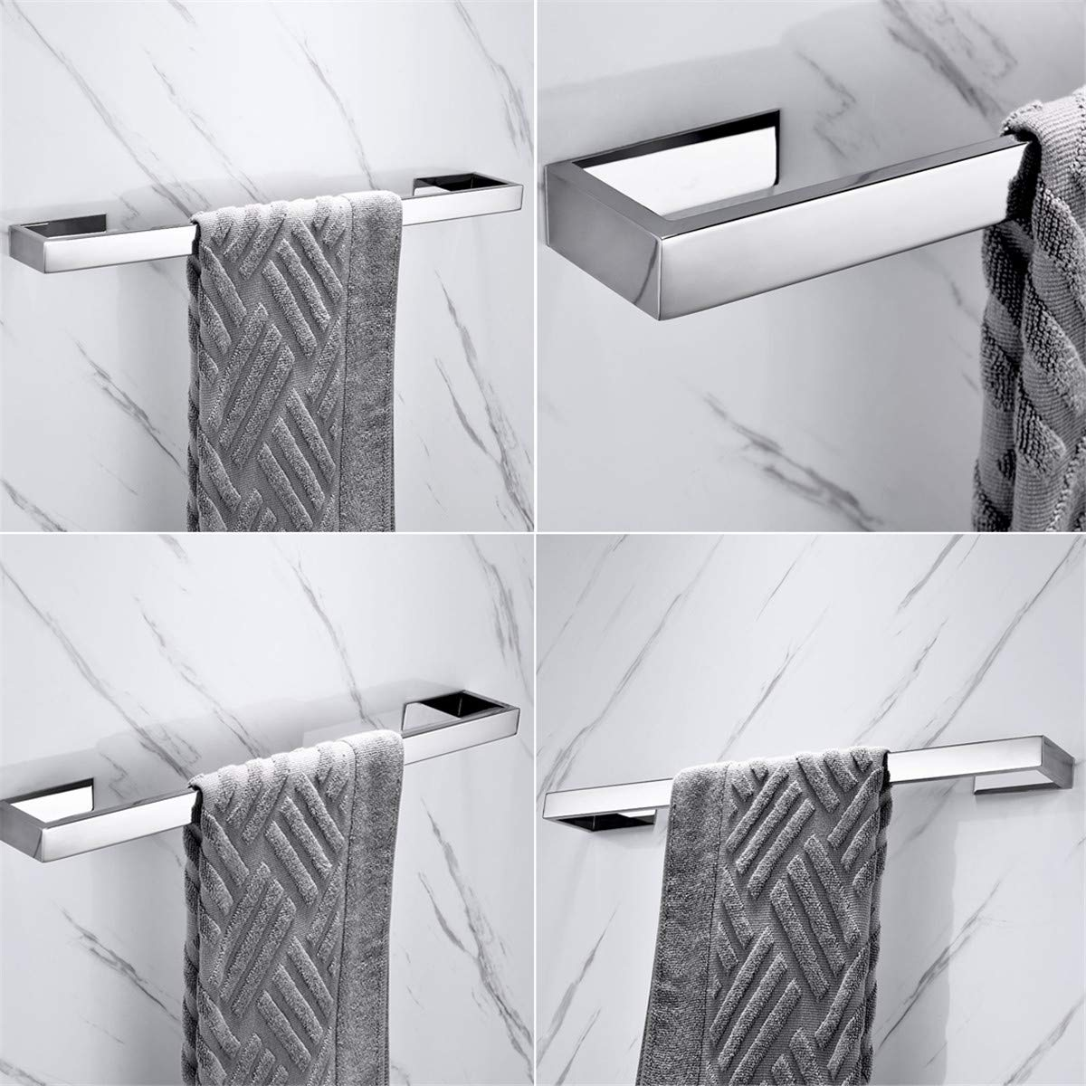 60 cm // 24 inches No Drilling Flybath Towel Rail Bar Single Layer SUS 304 Stainless Steel Stylish Towel Holder Wall Mounted 3M Self Adhesive Mirror Polished