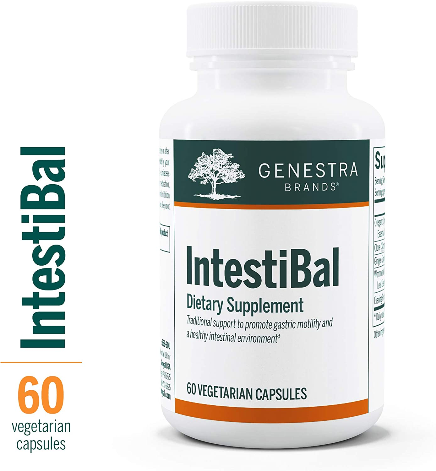 Genestra Brands – IntestiBal – with Essential Oils from Ginger and Wormwood – 60 Vegetable Capsules