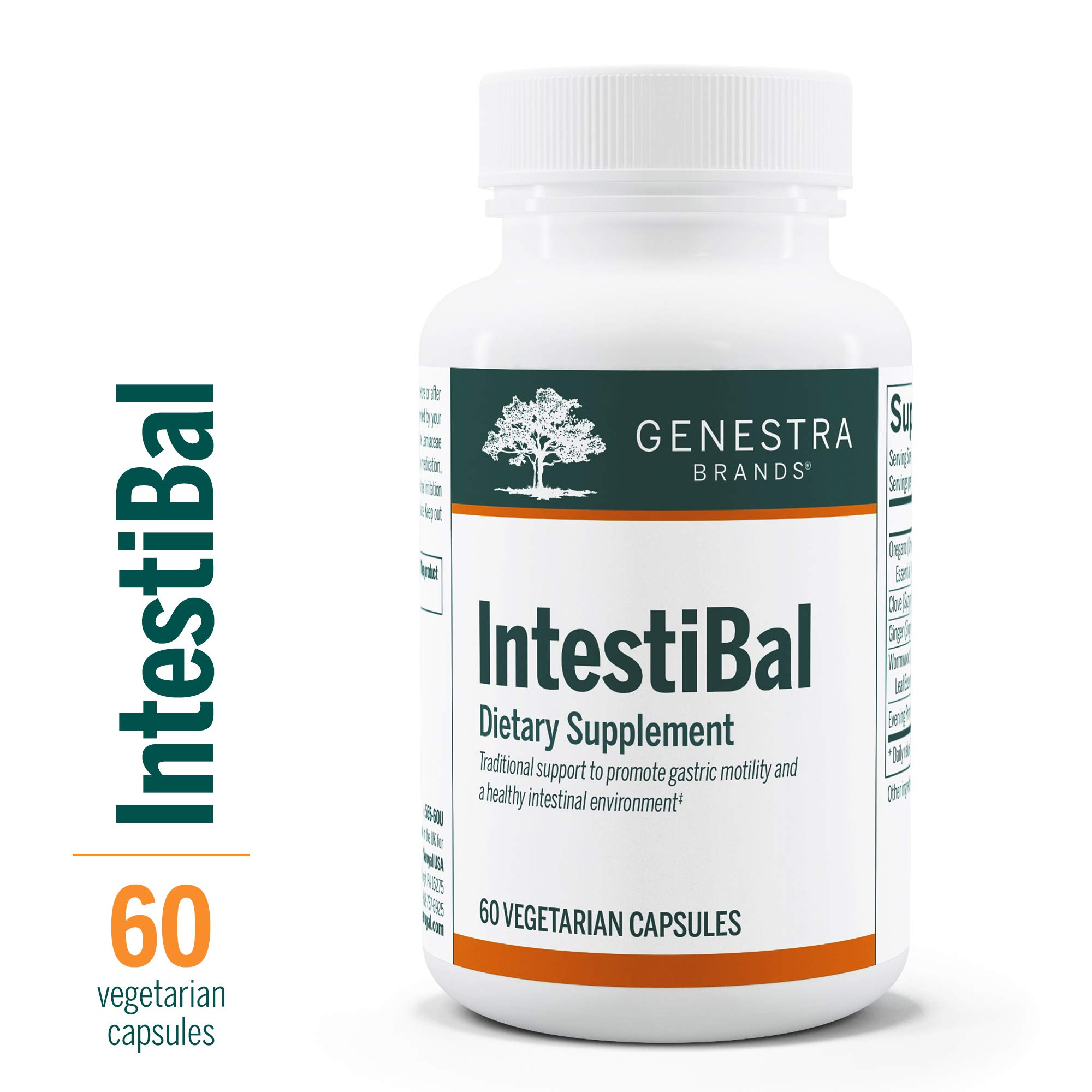 Genestra Brands - IntestiBal - with Essential Oils from Ginger and Wormwood - 60 Vegetable Capsules