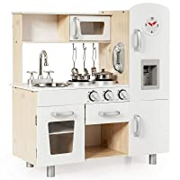 Costzon Kids Kitchen Playset, Wooden Pretend Cooking Playset w/ Telephone, Stove, Fridge, Microwave, Removable Sink, Water Dispenser w/ Light Sound, Shelf, Cabinets, Great Gift for Boys Girls (White)