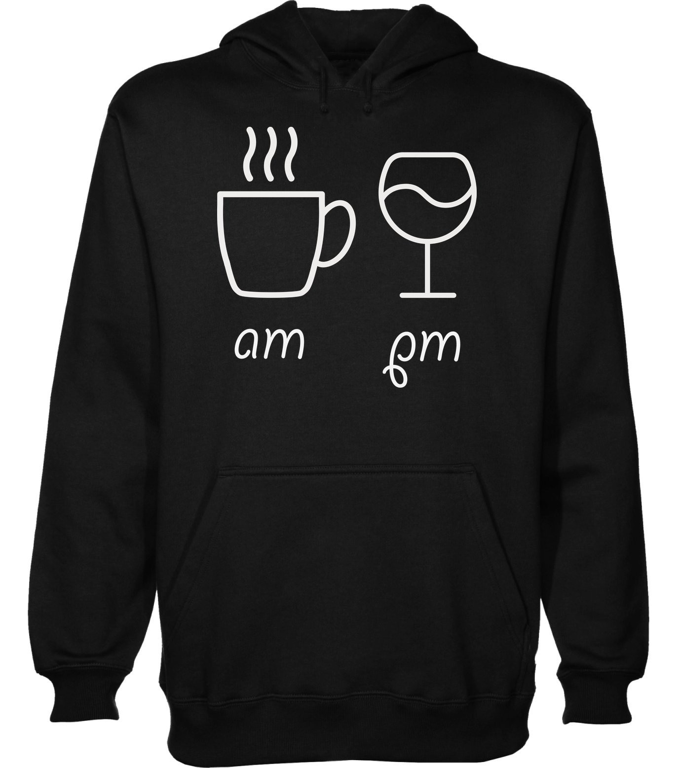 Am Coffee and PM Glass of Wine Men's Hoodie Pullover Extra Large