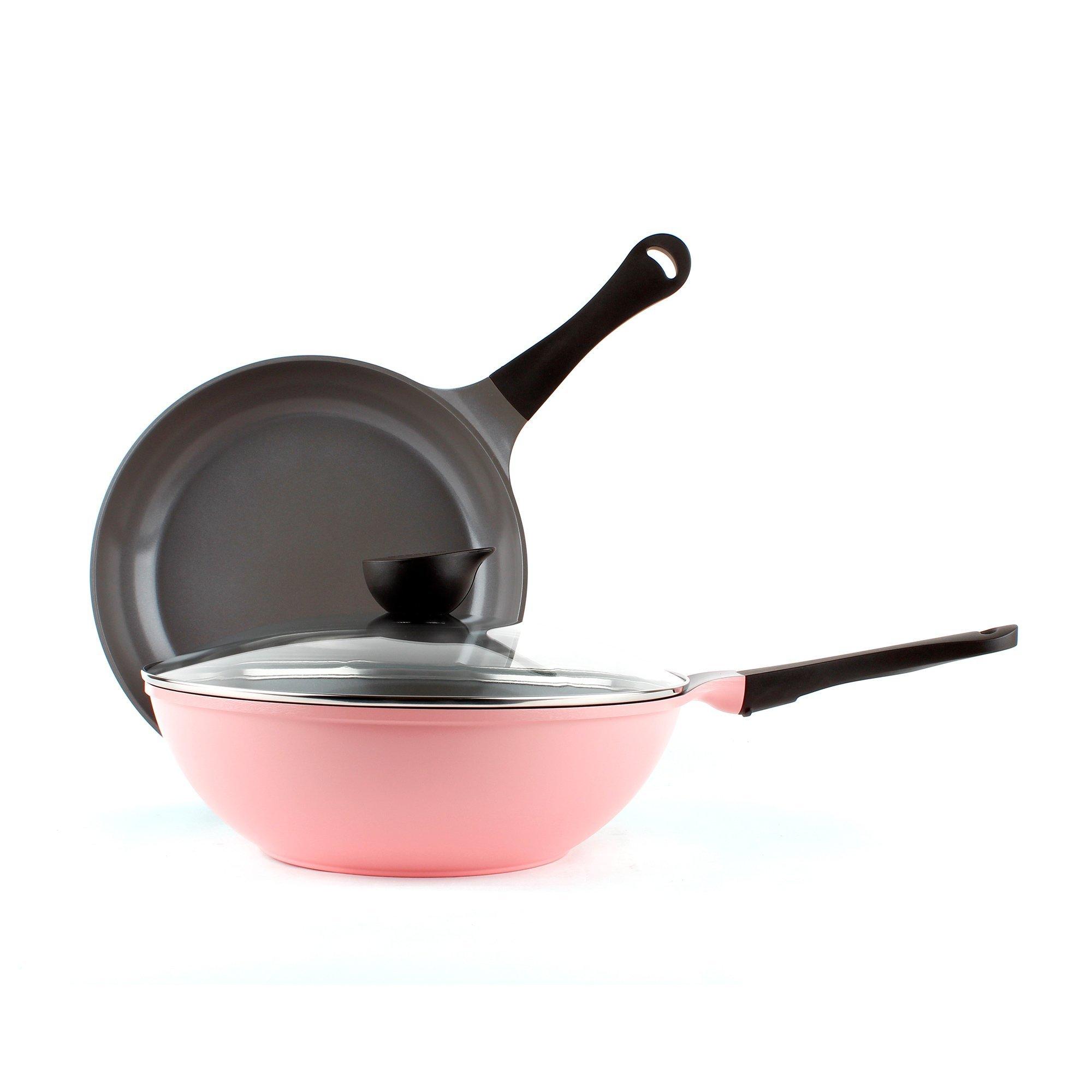 Neoflam 3 Piece Eela Ceramic Nonstick Cookware Set, Pink