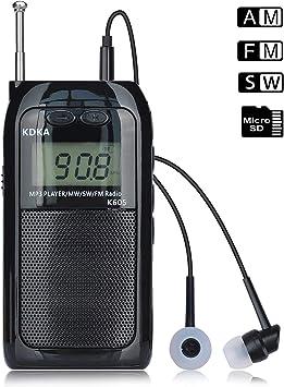 Songway Radio De Bolsillo Portátil LCD Pantalla Digital Soporte Tarjeta TF Reproductor De MP3 Recargable FM SW MW Am Estéreo Mini Walkman Radio con Memoria De Apagado, Soporte de luz de Fondo: