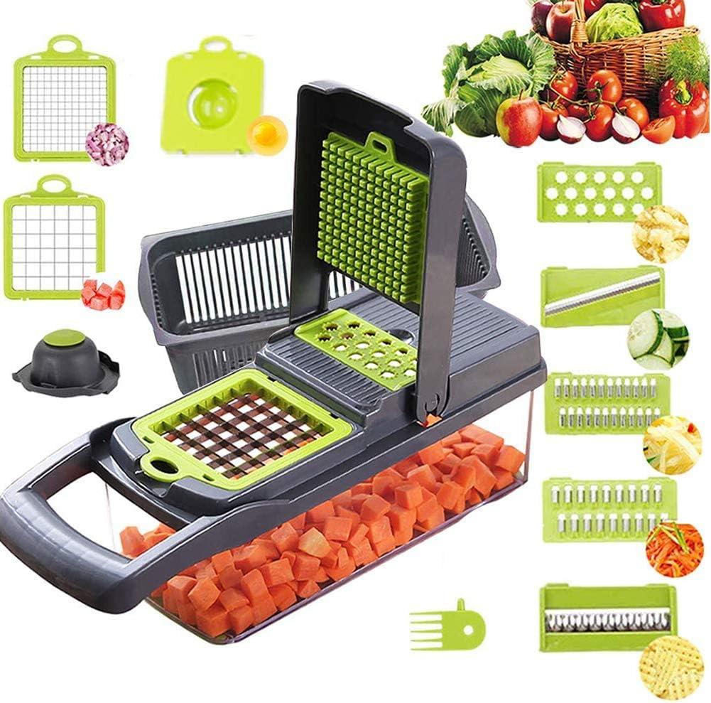 Vegetable Chopper Cutter with Mandoline Slicer,12 in 1 Onion Dicer,Kitchen Manual Hand Held Veggie Chopper, Stainless Steel Food Chopper for Fruit Salad