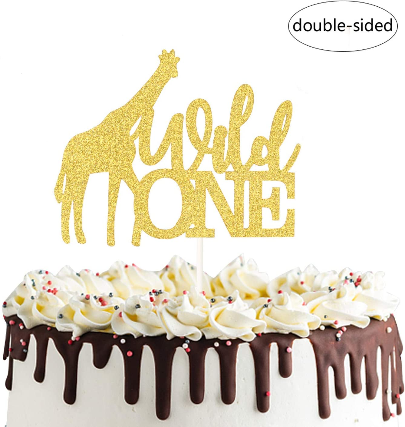 ONE First Birthday Cake Topper GOLD Happy 1st Smash Party Decorations NEW