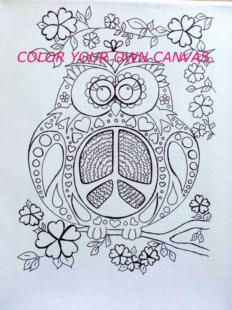 Amazon.com: Coloring Page Canvas - FREE SHIPPING - Adult Coloring Book  Style Canvas - Colouring - Peace Owl - Original Image: Handmade