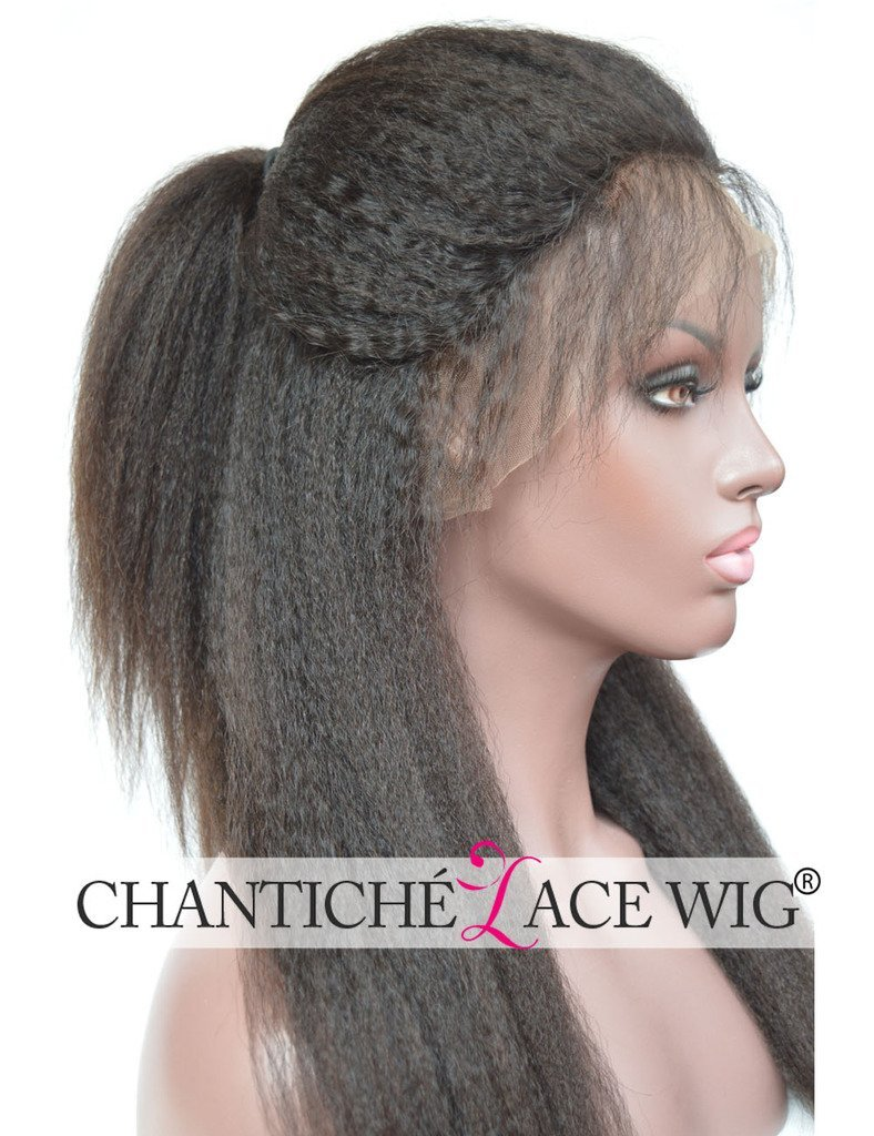 Chantiche Natural Looking Italian Yaki Glueless Full Lace Wigs with Baby Hair for Black Women Best Brazilian Remy Human Hair Wig 130 Density 12 Inches #1B
