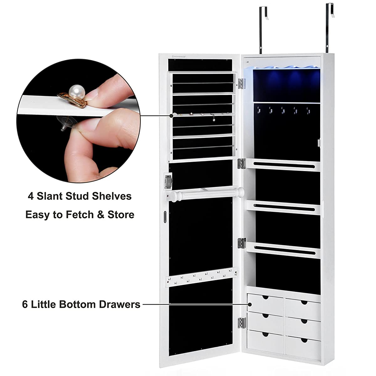 SONGMICS LED Jewelry Cabinet Armoire with 6 Drawers Lockable Door Wall Mounted Jewelry Organizer White UJJC88W