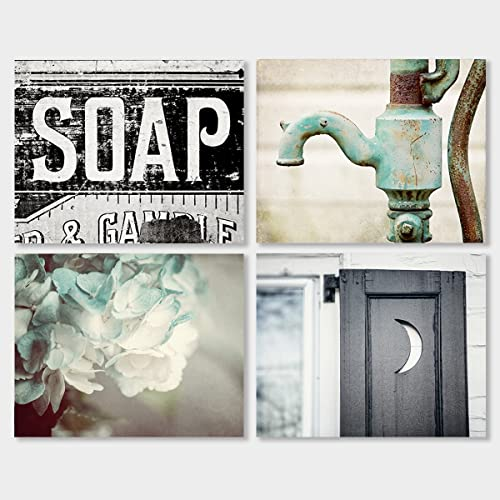 rustic bathroom wall decor Amazon.com: Rustic Bathroom Decor Set of 4 8x10