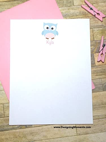 owl stationery personalized note cards baby shower thank you card set pink and - Baby Shower Card Note