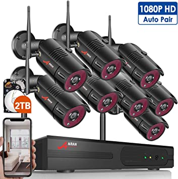 ANRAN Security Camera System Wireless 1080P 4CH Hard Drive Home NVR Outdoor