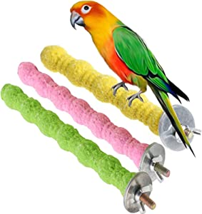 kathson Bird Perch Parrot Stand Cage Accessories Natural Wooden Stick Paw Grinding Rough-surfaced Chew Toy for Cockatiels,Cockatoo,Lorikeet,Conure,Parakeet 3 Pack (Random Color)
