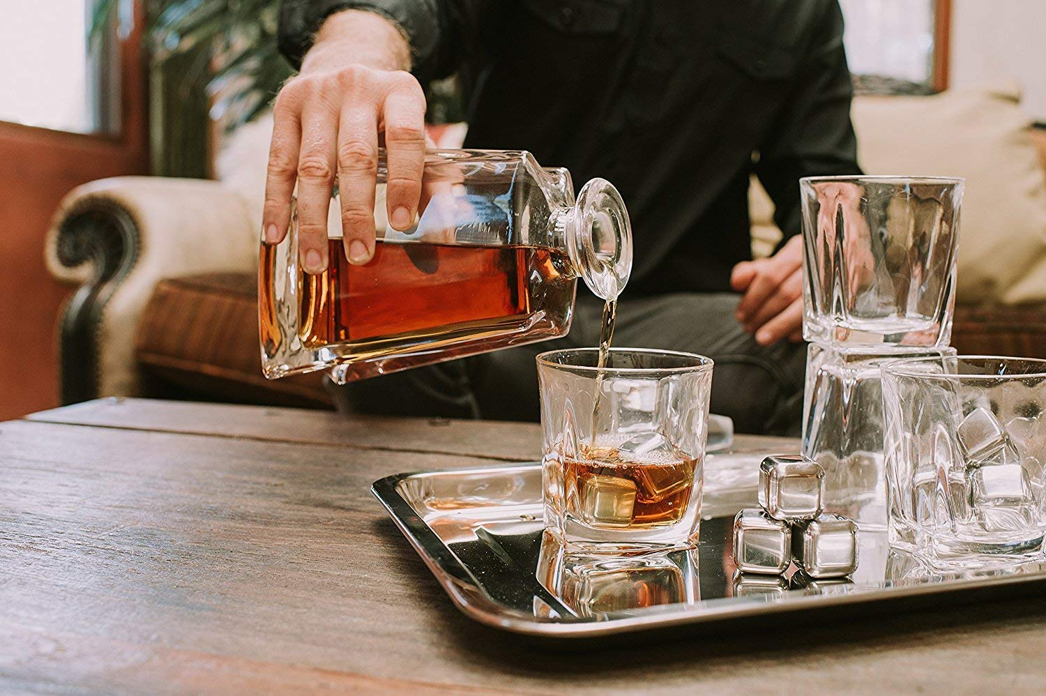 Whiskey Decanter Set by Opul (10 Piece Set) - Includes Crystal Whiskey Glasses Set, Whiskey Stones, Stainless Steel Tray and Tongs - Elegantly Designed to Last the Test of Time by OPUL (Image #6)